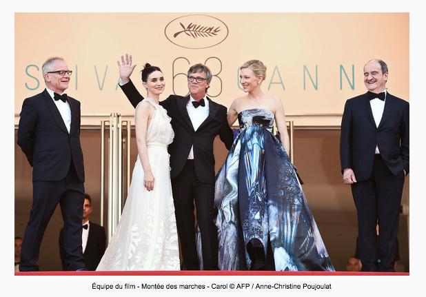 """Roter Teppich von """"Carol"""" mit v.l. Ronney Mara, Tod Haynes und Cate Blanchett ©Christine Poujalout"""