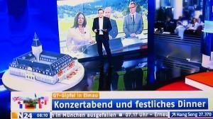 G7 Gipfel auf Schloss Elmau, N24 Fernsehen zeigt ein Model des Schlosses