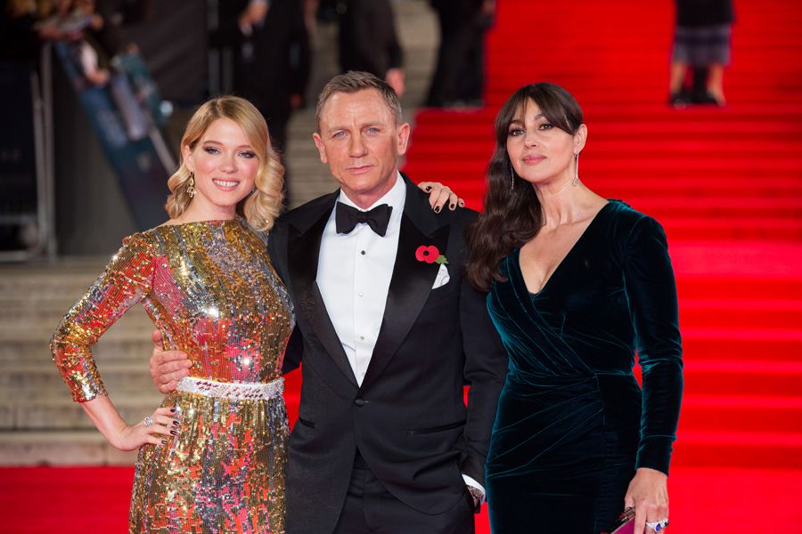 October 26, 2015 - London, England: (l to r) Léa Seydoux, Daniel Craig and Monica Bellucci attend the Royal World Premiere of SPECTRE at Royal Albert Hall.