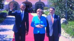 7. Juni 2015, Barack Obama und Angela Merkel mit Ehemann begrüßen die G7 Gäste auf Schloss Elmau