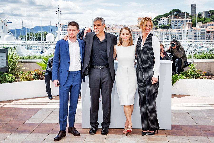 Jack O'Connell, George Clooney, Jodie Foster et Julia Robert, Cannes 2016. © Cyril Moreau / Olivier Borde / Bestimage