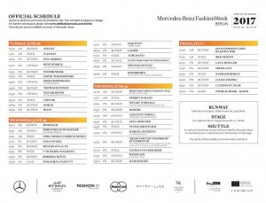 Schedule for the Fashion Shows © MBFWB