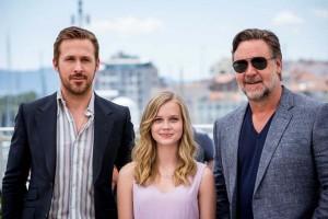 "Ryan Gosling, Angourie Rice et Russell Crowe - Photocall du film ""The Nice Guys"" lors du 69ème Festival International du Film de Cannes. Le 15 mai 2016 © Borde-Moreau / Bestimage"