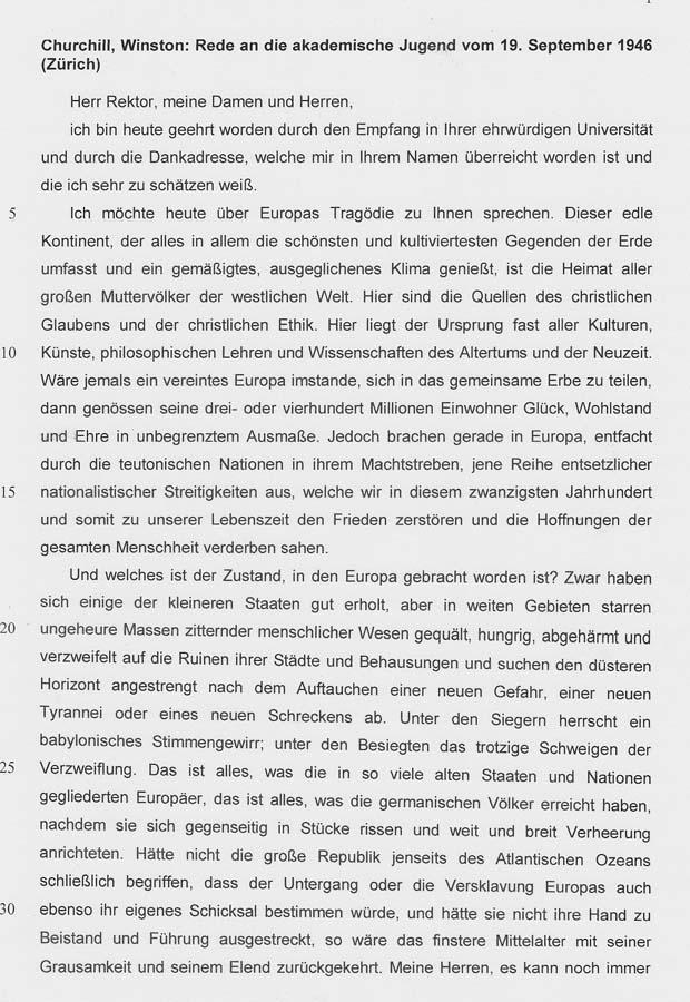 Winston Churchill - Rede vom 19.9.1946 in Zürich