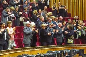 "v.l.n.r. Angela Merkel mit Joachim Sauer, Norbert Lammet mit Frau, ""Elektra"", Staatsoper Berlin © Holger Jacobs"