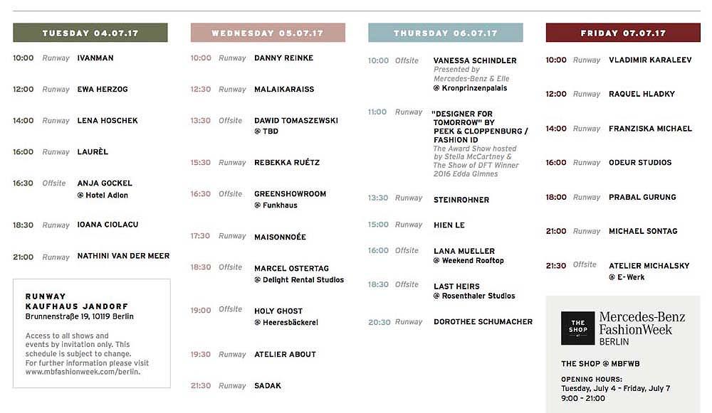 New York Fashion Week Schedule Ss