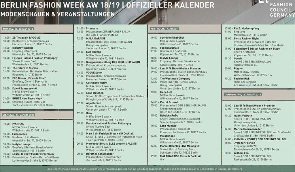 Fashion Week Berlin Programm